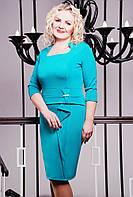 Размеры 50, 52, 54, 56.Платье женское больших размеров Луна бирюзовое батал трикотажное приталенное