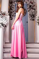 Легкое длинное женское платье с открытым верхом розовый, 42-44