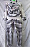 Женская пижама из флиса полосатая с кошками, фото 1