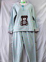 Женская пижама из флиса полосатая с мишкой, полубатал