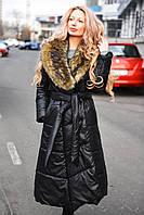 Зимнее очень теплое стеганное пальто на силиконе со съемным мехом