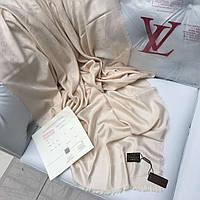 Палантин Louis Vuitton LV монограммы шерсть шелк кремовый