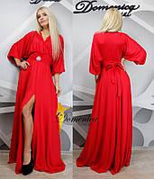 Свободное платье в пол с поясом в расцветках o-31032348