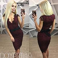 Гипюровое платье с поясом в расцветках s-31032351