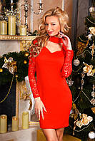 Красивое праздничное красное платье мини с гипюровыми рукавами