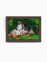 Авторская канва для вышивки бисером «Волки»