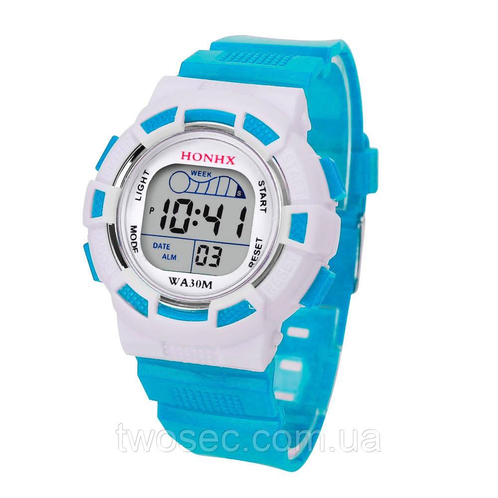Часы наручные детские электронные, цифровые для мальчика, девочки Honhx голубые, белые с будильником