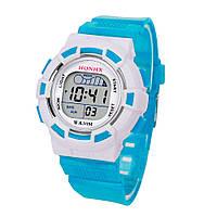 Часы наручные детские электронные, цифровые для мальчика, девочки Honhx голубые, белые с будильником, фото 1