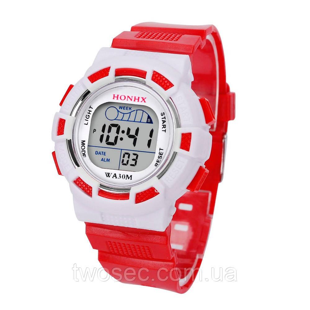 Часы наручные детские электронные, цифровые для мальчика, девочки Honhx красные, белые с будильником