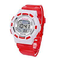 Часы наручные детские электронные, цифровые для мальчика, девочки Honhx красные, белые с будильником, фото 1