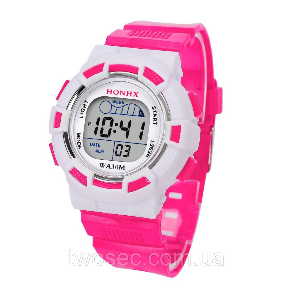 Часы наручные детские электронные, цифровые для девочки, девочке Honhx розовые, белые с будильником