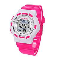 Часы наручные детские электронные, цифровые для девочки, девочке Honhx розовые, белые с будильником, фото 1