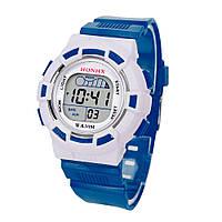 Часы наручные детские электронные, цифровые для мальчика, мальчику Honhx синие, белые с будильником