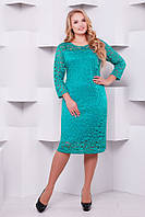 Женское Платье из гипюра  цвет бирюза  ЛЮЧИЯ длинный рукав (56-60)