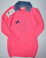 Детский розовый свитер с джинсовым воротником  134р