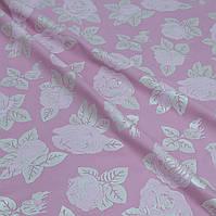 Тик наперниковый Розы серебро-розовый