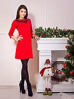 Элегантное красное платье из крепа