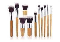 Набор профессиональных кистей для макияжа бамбук(комплект/11 шт.)