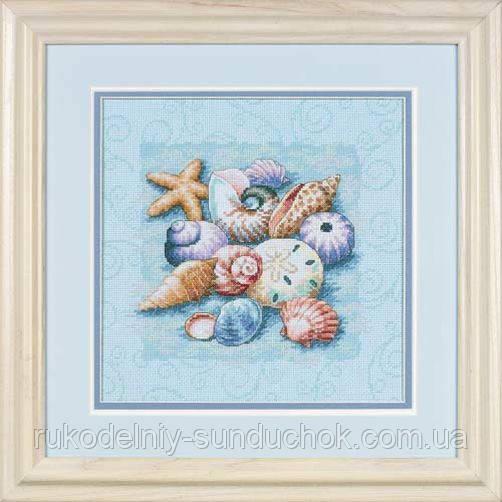 "Набор для вышивания Dimensions ""Ракушки на голубом фоне//Shells on Blue"" 13725"