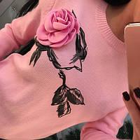 Свитер трикотажный с розой