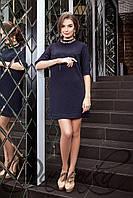 Элегантное жаккардовое короткое платье Dana темно синее