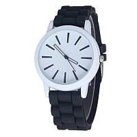 Женские силиконовые наручные часы кварцевые Feb22 на силиконовом ремешке черные, белые