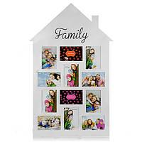 Фото коллаж 12 фотографий Family в форме дома