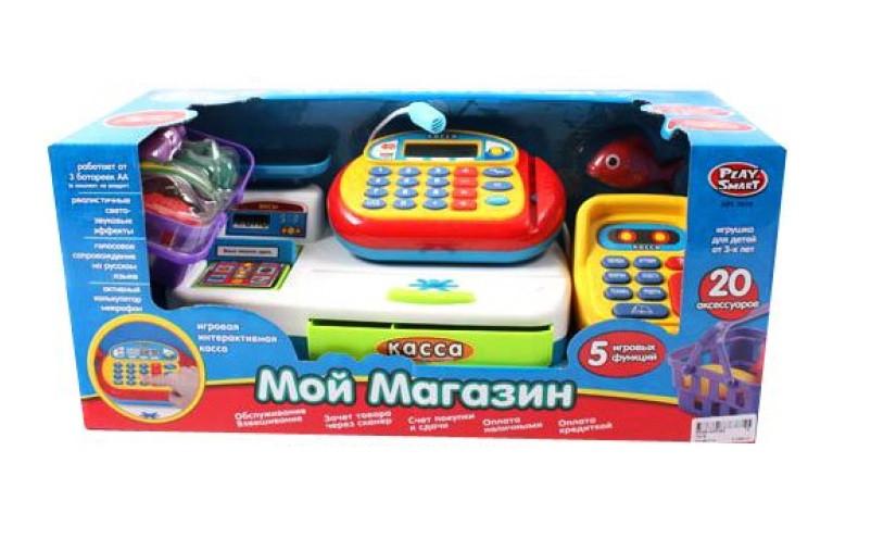 """Кассовый аппарат 7019, """"Мой магазин"""", сканер, калькулятор, светозвуковые эффекы, набор продуктов, в коробке"""
