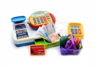 """Кассовый аппарат 7019, """"Мой магазин"""", сканер, калькулятор, светозвуковые эффекы, набор продуктов, в коробке, фото 2"""