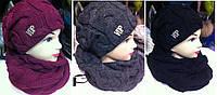Комплект зимний, шапка  + хомут трубой (разные цвета)