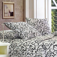 Комплект натурального постельного белья в черно-белых тонах