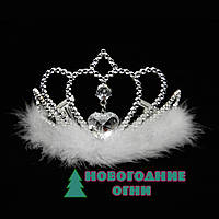 Корона карнавальная Царевна с белым пухом