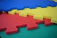 Коврик-пазл (ласточкин хвост) модульное покрытие красный, синий, желтый 70 кг/м3   520х520х12мм