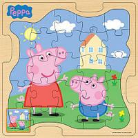 """Развивающие и обучающие игрушки «Peppa Pig» (25125) деревянный пазл """"Пеппа и Джордж на прогулке"""", 24 элемента"""