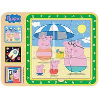 """Развивающие и обучающие игрушки «Peppa Pig» (24451) деревянный пазл """"Добрый мир Пеппы"""" 3 в 1"""