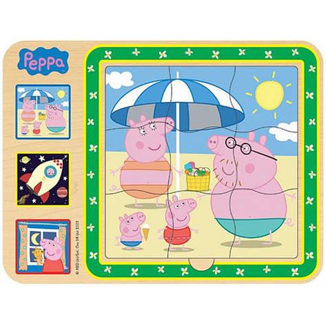 """Розвиваючі і повчальні іграшки «Peppa Pig» (24451) дерев'яний пазл """"Добрий світ Пеппы"""" 3 в 1, фото 2"""