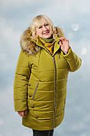 Женская куртка на холлофайбере оливкового цвета