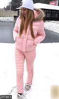 Зимний женский спортивный костюм на молнии с капюшоном и меховой отделкой плащевка на синтепоне