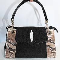 Женская сумка из кожи ската и питона (STH 380 PT Black/Natural), фото 1