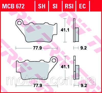 Тормозные колодки TRW / LUCAS MCB672SI