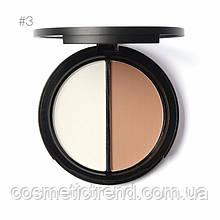 Focallure Хайлайтер/бронзер Ice Queen Silver Shimmer/Tan палитра для макияжа 2х1 Bling Highlight&Contour №03
