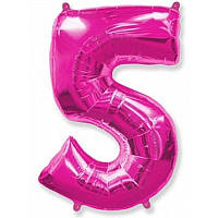 Шар фольгированный цифра 5 (малиновый), фото 1
