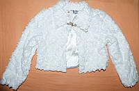 Болеро меховое белое шикарное 5-6-7-8-9 лет Софи