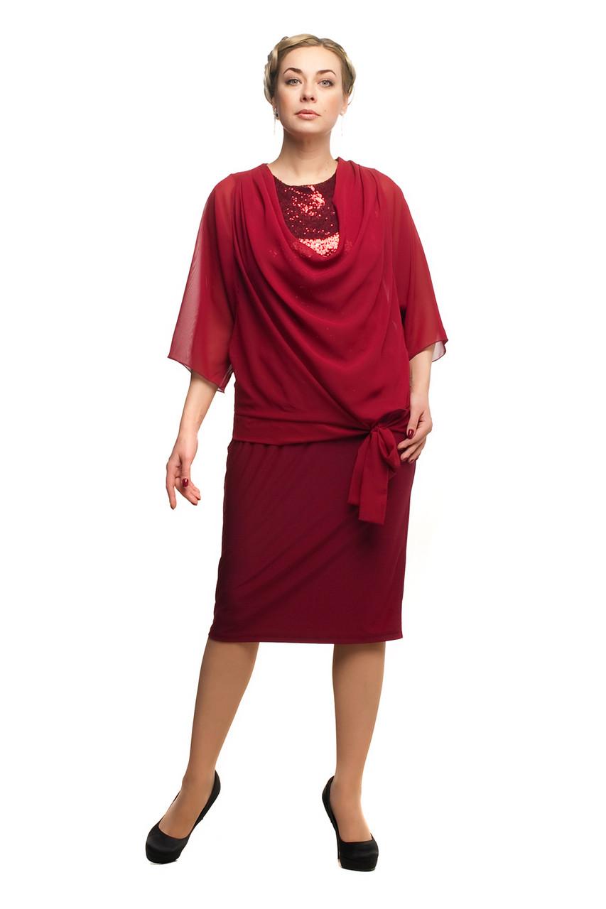 Женское нарядное платье большого размера 1705025/3 Вино