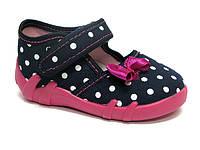 Тапочки (туфельки) для девочки Renbut темно-синие в горшек бантик