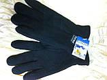 Мужские двойные чёрные перчатки из флиса, фото 2