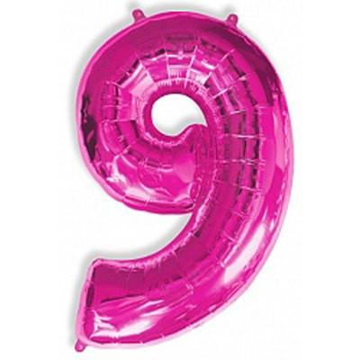 Шар фольгированный цифра 9 (малиновый)