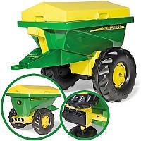 Прицеп одноосный с крышкой  Rolly toys John Deere Streumax Trailer зеленый