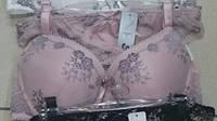 Комплект бюстик кружевной розовой с серым+трусики слип,белый с цветами, Weiyesi _A9335, фото 1