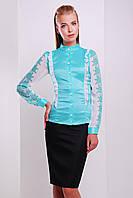 Узор мята блуза Ажура д/р, фото 1